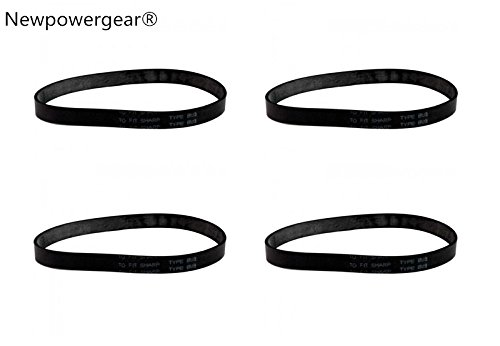 Newpowergear Brand New (4) Energy Upright Vacuum Belts for Sharp EC-12STXT4, EC-12SX2, EC-12SX3, EC-12SX6, EC-12SXT4B, EC-12SXT5, EC-12TBC by NewPowerGear