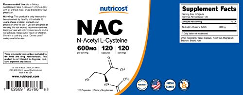 Nutricost N-Acetyl L-Cysteine (NAC) 600mg, 120 Veggie Capsules - Non-GMO, Gluten Free, Vegetable Caps by Nutricost (Image #6)