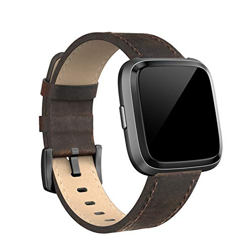 SWEES Compatible for Versa Bands Leather Small & Large, Genuine Leather Band with Stainless Steel Buckle Strap Replacement Wristband Compatible for Versa Women Men, Rose Gold, Black ()