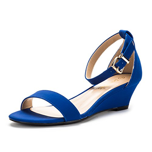 Blue Wedge Shoes - DREAM PAIRS Women's Ingrid Royal Blue Ankle Strap Low Wedge Sandals - 5 M US