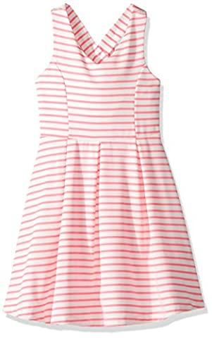 Zunie Little Girls' Sleeveless Knit Pleated Dress with Bow Back, White/Pink, 6 - Skirts Sleeveless Knit Dress