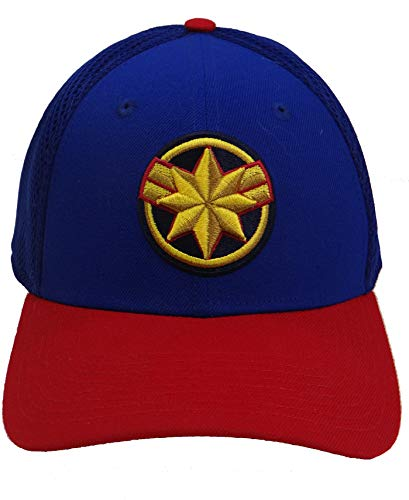 Captain Marvel Movie Logo Royal and Red PX Neo New Era 39Thirty Flexfit Cap Hat Medium/Large