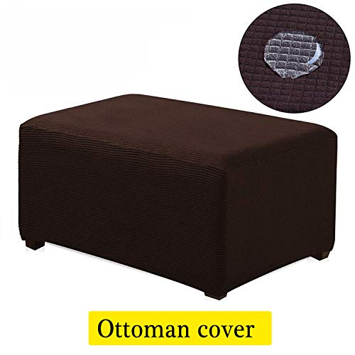 - TIENCIY Oversized Ottoman Slipcover Sofa Spandex Jacquard Stretch Storage Protector Covers Ottoman Cover Furniture Protector for Living Room (Oversize, Chocolate)