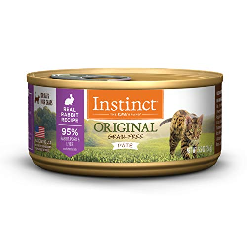 Instinct Original Grain Free Real Rabbit Recipe Natural Wet Canned Cat Food by Nature's Variety, 5.5 oz. Cans (Case of - Grain Rabbit Food Cat Free