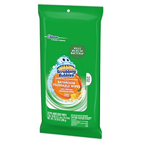 Scrubbing Bubbles Antibacterial Bathroom Flushable Wipes