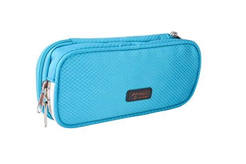 Large Capacity Double Zipper Pencil Case Bag Pen Pouch