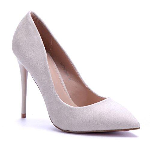 Schuhtempel24 Damen Schuhe Klassische Pumps Stiletto 11 cm High Heels Beige