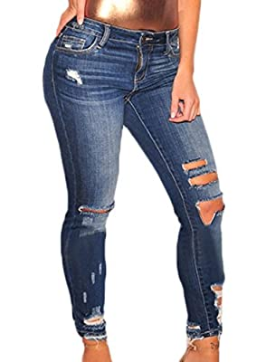 Sidefeel Women Casual Denim Destroyed Stretchy Ripped Skinny Jeans