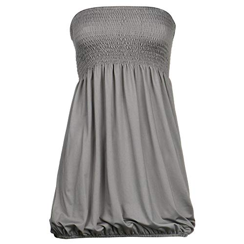 Women Sleeveless Tube Top Strapless Blouse Pleated Tunic Tanks Tops (Gray,Xl)