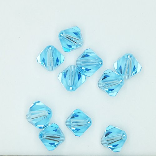 Aquamarine Blue 6mm Swarovski Crystal Beads. Bicone. Made in Austria. Pack of 10