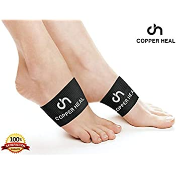 Arch Copper Compression Support Brace 2 Units by COPPER HEAL - Best Foot Plantar Fasciitis Sleeves