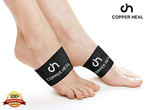 Arch Copper Compression Support Brace 2 Units by COPPER HEAL - Best Foot Plantar Fasciitis Sleeves Helps Relief Heel Spurs Flat Feet Ankle Achilles Tendon Insoles Shoes Dr Night Splint Insert