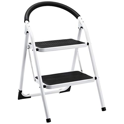 AmazonBasics Step Stool – 2-Step, Sturdy Steel and Wide Pedal, 200-Pound Capacity, White