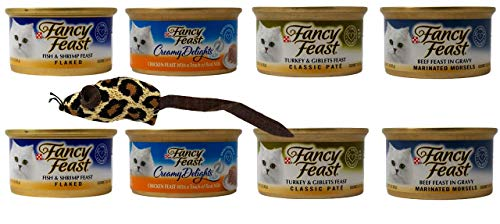 Fancy Feast Adult Cat Food 4 Flavor 8 Can Variety with Toy Bundle, (2) Each: Flaked Fish Shrimp, Creamy Chicken, Turkey Giblets Pate, Marinated Beef (3 Ounces)