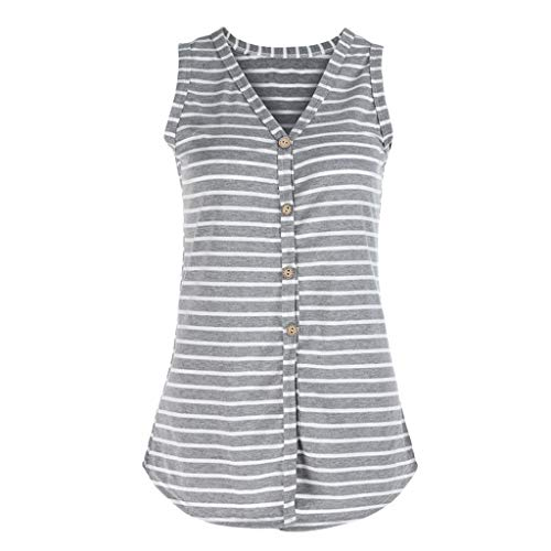 (INIBUD Women's Tops Self Tie Button Down Cotton V Neck Striped Sleeveless T-Shirts Vest Camisole Tank Tops for Women Summer (Striped Gray, S))