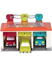 Battat BT2633Z Garaż do sortowania kształtów z kluczami i 3 samochodami zabawkowymi dla małych dzieci 2 lata + (5 szt.)