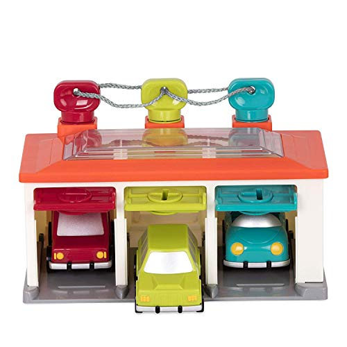 Battat - 3 Car Garage - Shape Sorting Toy Garage with Keys and 3 Toy Cars for Toddlers 2 years + (5-Pcs)