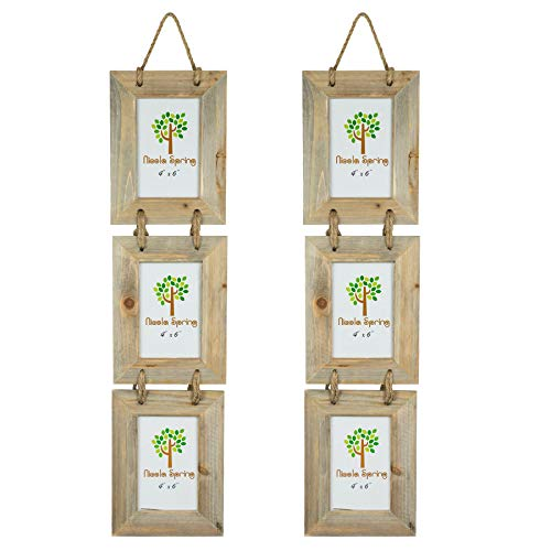 Nicola Spring Wooden 3 Photo Triple Hanging Multi Picture Photo Frame - 4 x 6 - Pack of ()