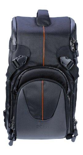 Dörr YUMA Doppelsling Rucksack für mittel große Fotoausrüstung mit Profi DSLR Kamera, Telezoom und Zubehör schwarz/orange