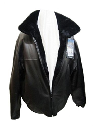 Moda Furs Men's Sz 44 Reversible Black Leather Bomber Jacket Coat w/Sheared Beaver Fur