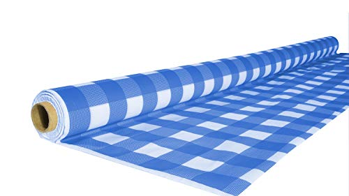 Exquisite 40 Inch. x 100 Ft. Gingham Plastic Tablecloth Roll, Checkerboard Design Disposable Table Cover Roll (Blue Gingham) ()