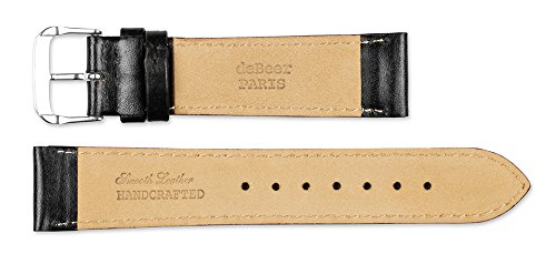 deBeer brand Smooth Leather Watch Band (Silver & Gold Buckle) - Black 15mm by deBeer Watch Bands (Image #3)