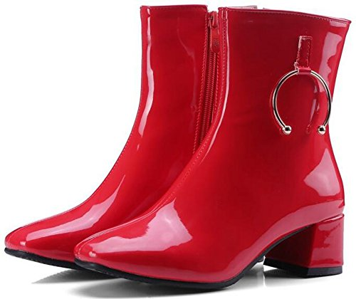 IDIFU Womens Unique Square Toe Patent Leather Side Zipper Mid Chunky Heels Motor Ankle Boots Red kMr2QSx