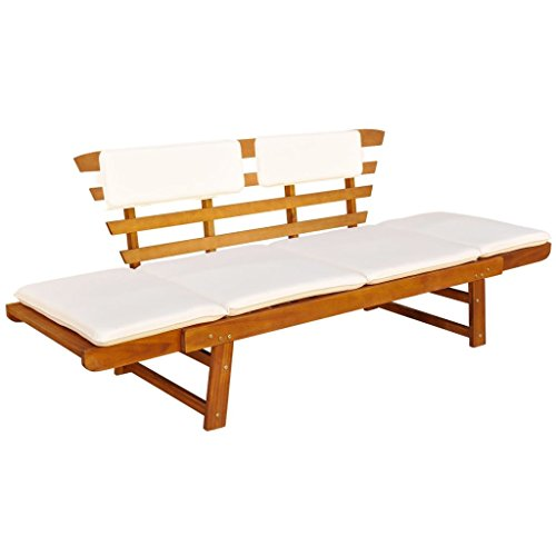 (vidaXL Solid Acacia Wood Cushions Garden Bench Day Bed Outdoor Patio Oil Finish)