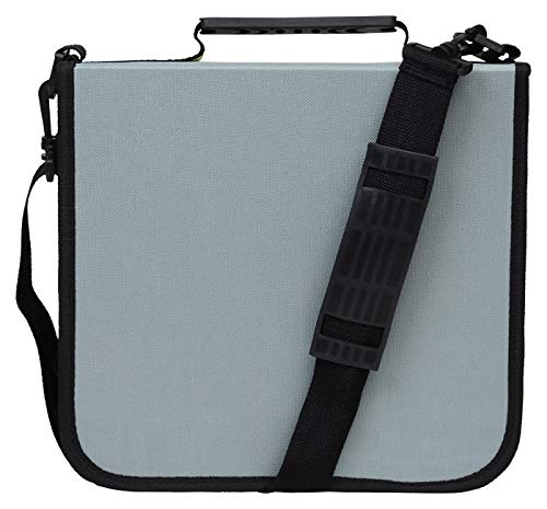 288 Capacity CD/DVD Carrying Case - Grey - with New and Improved Inserts, Double The Thickness and All tabs Pulled