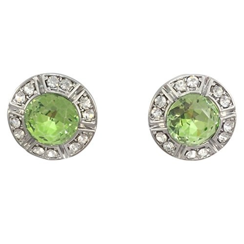 Lime Green Earrings (Round Rhinestone Stud Post Small Silver Tone Earrings - Assorted colors (Lime Green))