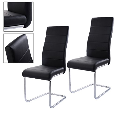 2pcs Black Elegant Dining Chairs PU Leather Stainless Steel High Back Cushioned Seat With Comfortable And Stylish TSE070A