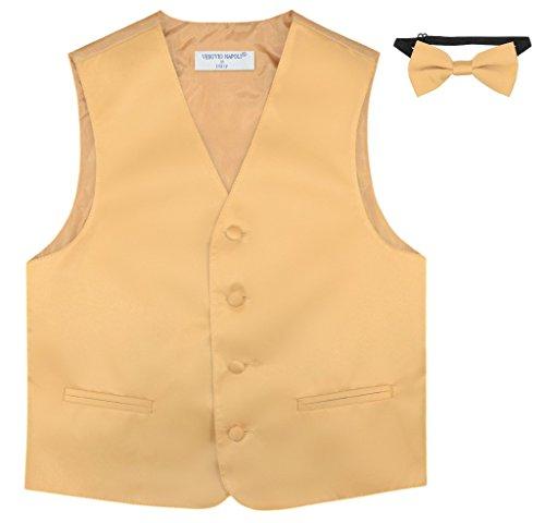 BOY'S Dress Vest & BOW TIE Solid GOLD Color Bow Tie Set size 8
