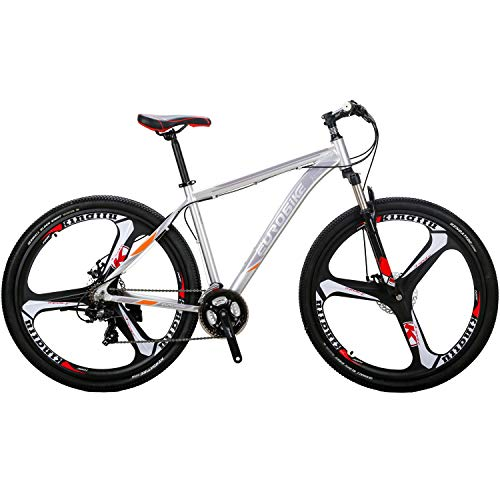 "EUROBIKE 29"" Mountain Bike Lightweight Aluminum Frame Front Suspension Daul Disc Brakes 21 Speed Mens Bicycle 29er MTB (Silvery)"