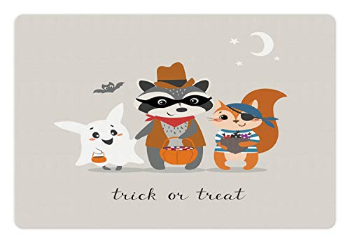 Ambesonne Ghost Pet Mat for Food and Water, Trick or Treat Quote with Happy Forest Animals on Halloween Costumes Moon and Stars, Rectangle Non-Slip Rubber Mat for Dogs and Cats, -