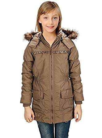 Alipolo Big Girls Winter Waterproof Padded Jacket with Pockets Belt and Fur Hooded