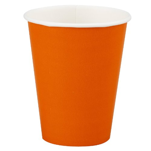 Creative Converting Table Needs, Paper Hot/Cold Cups, Party Supplies, Orange, 9 oz, 8ct ()