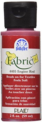 Folk Art Fabric Brush On Paint 2 Ounces-Engine Red