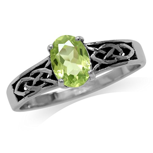 Natural Peridot 925 Sterling Silver Celtic Knot Ring Size 6 (Peridot Celtic Knot)