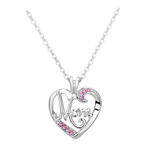Mom Gifts Mother Necklace for Women Heart Crystal