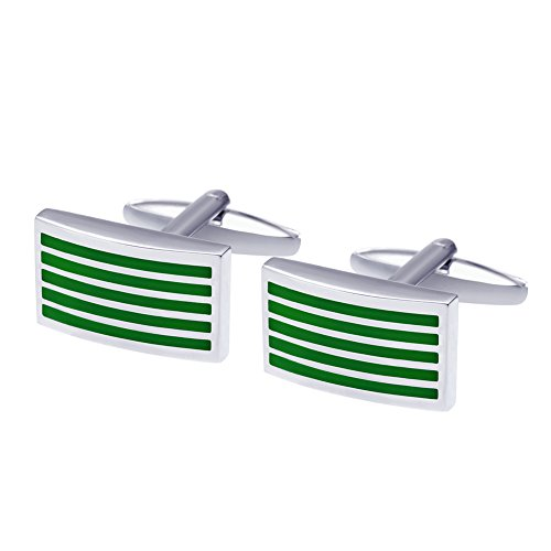 - Salutto Men's Five Green Striped Cufflinks with Gift Box