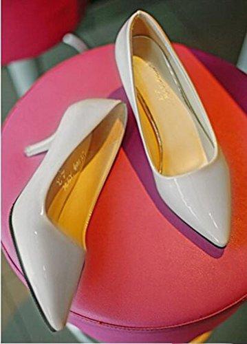 Chfso Donna Stiletto Solidi Scarpe A Punta Slittate Basse Con Tacco Medio Scarpe Basse Grigie