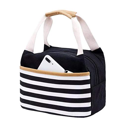 - ANJUREN Lunch Bag Cooler Tote Bags Thermal Insulated Lunch Box Soft Leak Proof Liner Cool Warm Food Storage Lunch Bag for women Men Picnic Boating Beach Fishing School Work Travel (Lunch bag, Black)