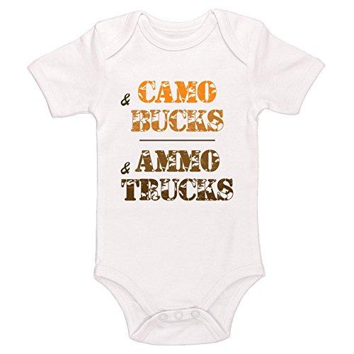 Starlight Baby Camo And Bucks  Ammo And Trucks Bodysuit  White  0 3 Months