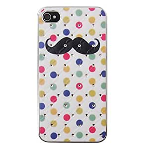 ZL Colorful Moustache Pattern Zircon Back Case for iPhone 4/4S