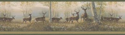 Brewster 145B44341 Northwoods Lodge Running Green Deer Border Wallpaper