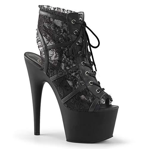 Platforms Pleaser Lace - Pleaser Women's Ado796lc/bm/m Ankle Bootie, Mesh Lace/Black Matte, 9 M US