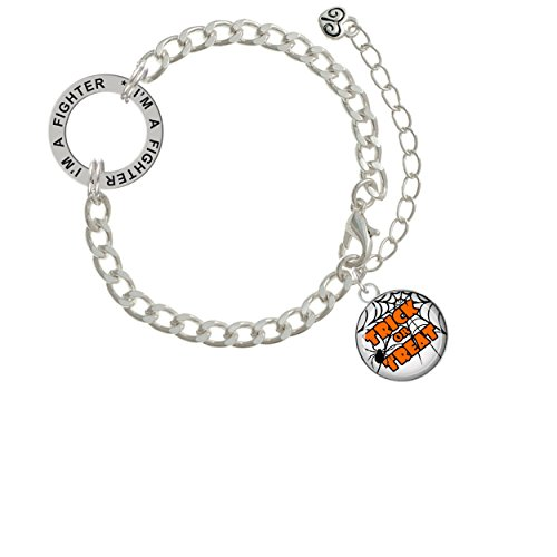 Domed Trick or Treat I'm A Fighter Affirmation Link Bracelet