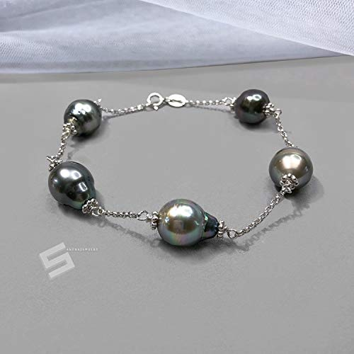 Tahitian Tin Cup - Authentic Tahitian Pearl Bracelet, Baroque South Sea Black Pearls In Sterling Silver Chain & Link Bracelet, Tin Cup Saltwater Pearl Bracelet
