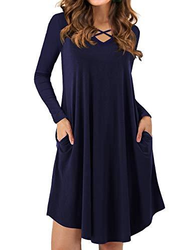 Dresses Long Hem Navy V Sleeve Neck T 02 Sexy Casual Dress Blue Criss Swing Pockets Cross QIXING Shirt Women's with 8CwqX6x8f