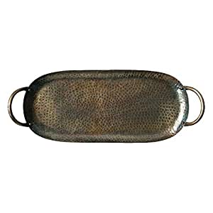 Hammered Metal Tray w/Antique Brass Finish